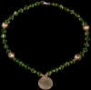 Green Glass Beads with rare Two Reales Coin