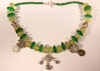Green and Vaseline Beads with Triple Pendant Chachal