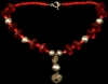 Red Vaseline Beads with Pre- Columbian Stone Pendant Chachal