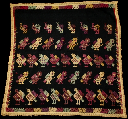 Indigo with Lace Tzute (Saint's Offering) from San Pedro Sacatepéquez