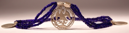 Mexican Emblem Blue Beads Chain Chachal