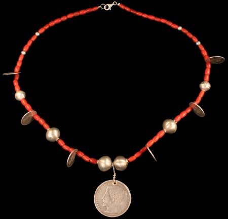 Coral & Old Silver Coins and spheres Chachal