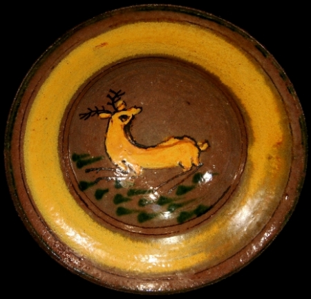 Green Leaves and Deer Ceremonial Plate